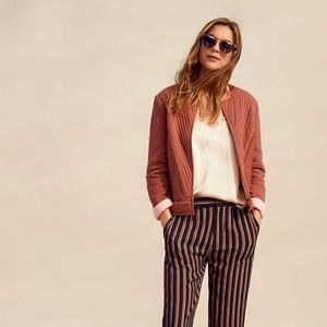 ANTHROPOLOGIE   SILKY STRIPED JOGGERS BLACK